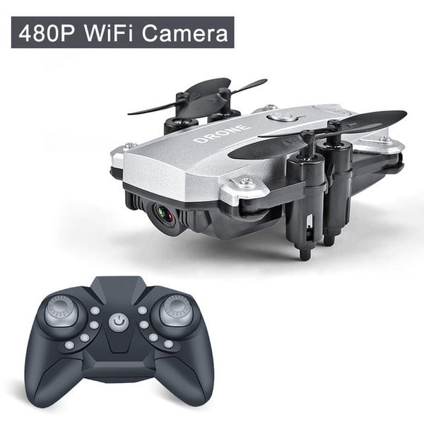 Silver color Foldable Mini RC Drone Quadcopter with 480p HD Camera-Hue&Shades