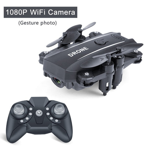 Black color Foldable Mini RC Drone Quadcopter with 1080p HD Camera-Hue&ShadesA