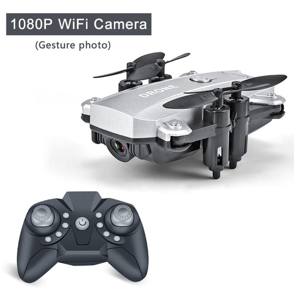 Silver color Foldable Mini RC Drone Quadcopter with 1080p HD Camera-Hue&ShadesA