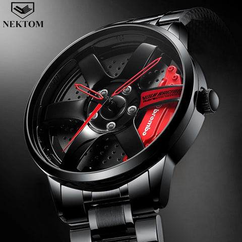 NEKTOM Car Wheel Rim Design Stainless Steel Sports Watches-hue&shades
