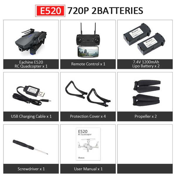Eachine E520S E520 Foldable Camera Drone with  FOLLOW ME Altitude Hold Feature with 4/1080P Wide Angle Camera-hue&shades