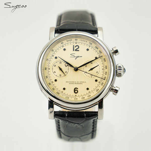 Sugess Chronograph Pilot Dress Watches with Genuine Leather Band