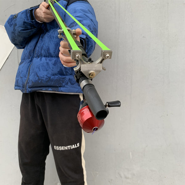 slingshot with folding rod and fishing reel