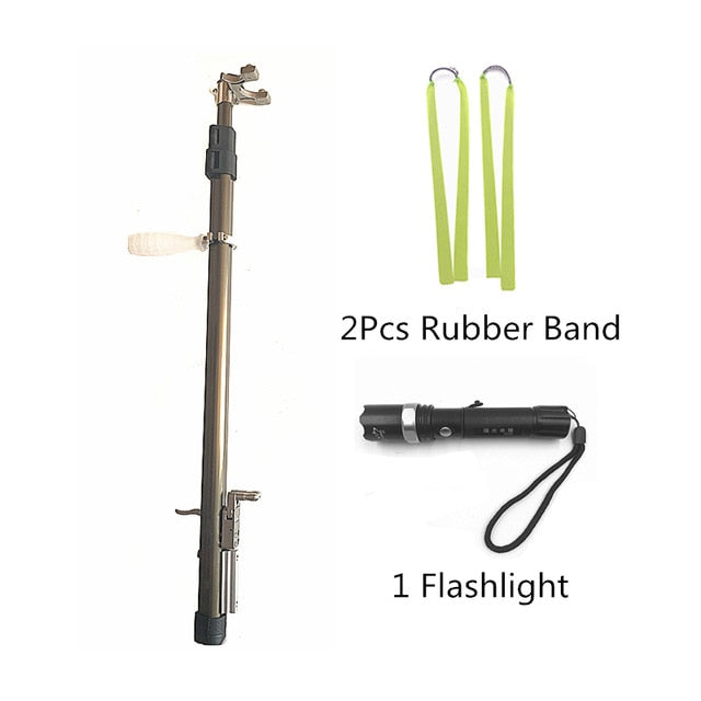 retractable slingshot with flat bands and flashlight