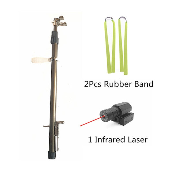 slingshot with extention rod and flat bands and laser dot pointer
