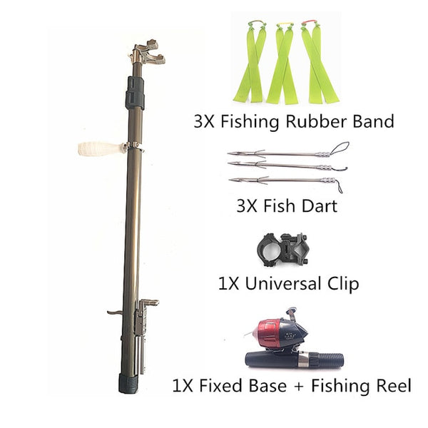 fishing slingshot with extension rod and fishing darts and reel