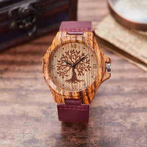 Creative Life Tree Imitation Wooden Watch for Women
