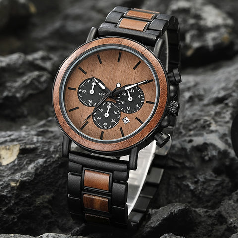 Black Wooden Men's Watch dual chronograph