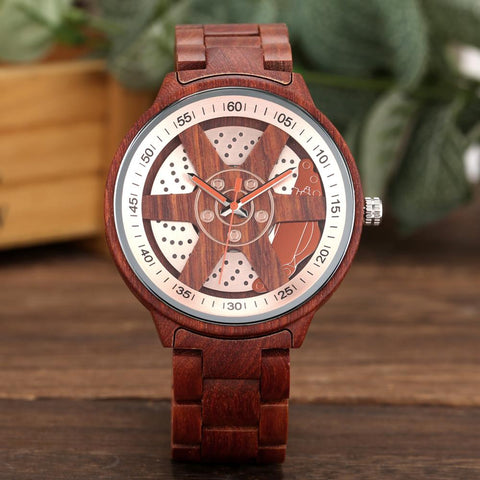 Unique Wheel Hub Design Red Wooden Watch