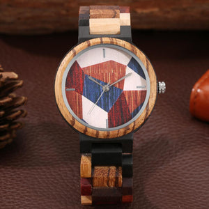 Unique Irregular Geometry Splicing Pattern Ladies Wooden Watch