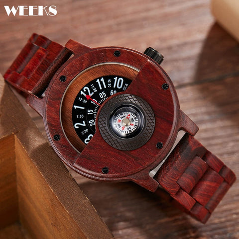 Gorben Red Multifunctional Wooden Wristwatch for Men