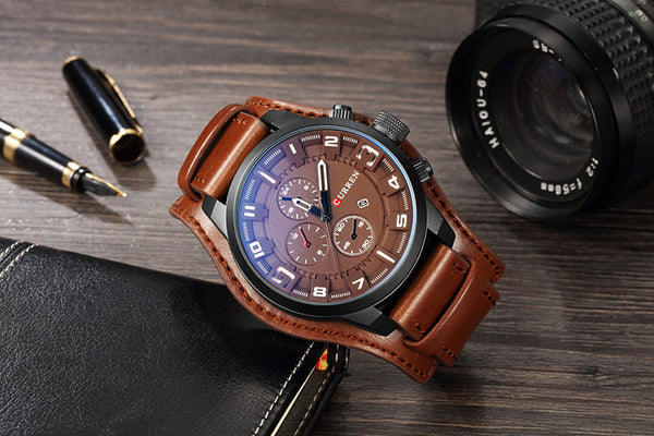 CURREN 8225 Sport Military Clock Leather Strap Quartz Business Men Watch