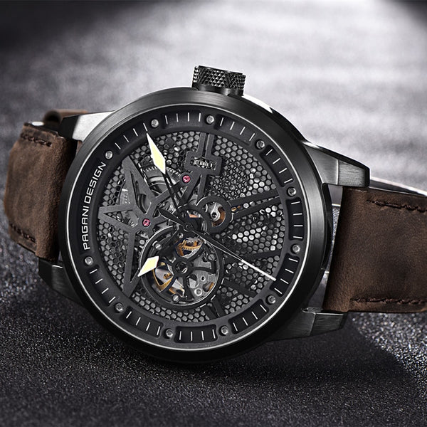 Pagani Leather Tourbillon Watch Automatic Mechanical Steel Wristwatch