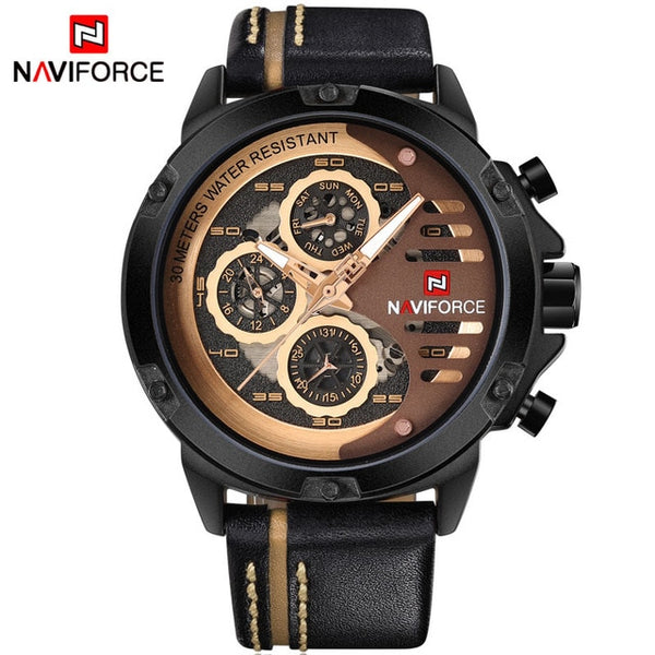 NAVIFORCE Waterproof Quartz Leather Sport Wrist Watch
