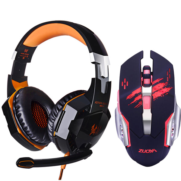 Gaming Headsets KOTION EACH G2000 Deep Bass | Gaming Headset + Gaming Mouse Bundle