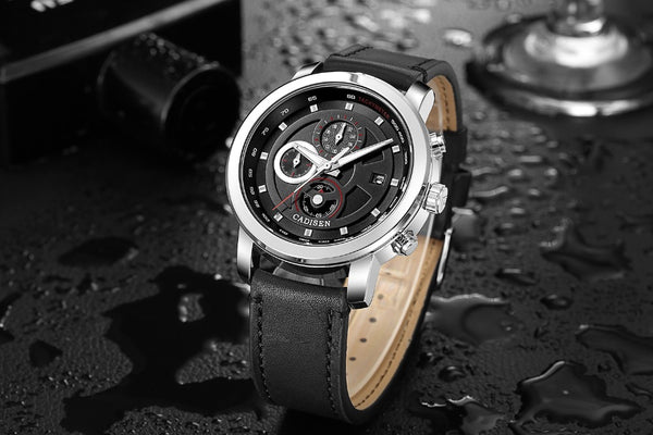 Cadisen Black Leather Strap Air Watches