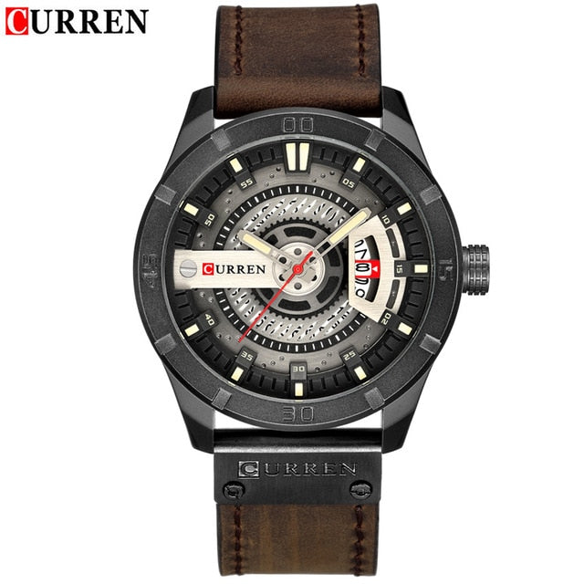 CURREN Military Sports Watches Quartz Casual Leather Wrist Watch