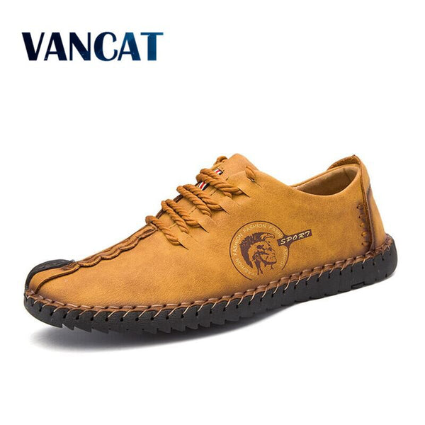VANCAT Casual Walking Shoes Loafers Shoes Quality Split Leather Shoes Flats