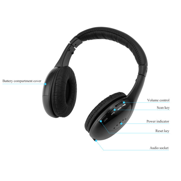 FORNORM 5 in 1 Wireless Cordless Headphone Headset Earphone
