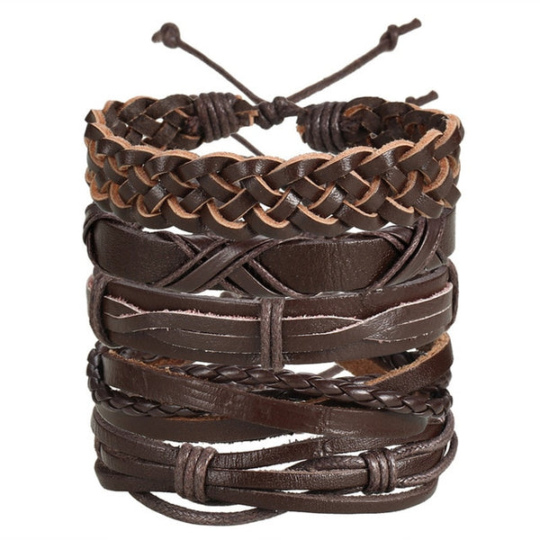 IF ME Vintage Leaf Feather Multilayer Leather Bracelet