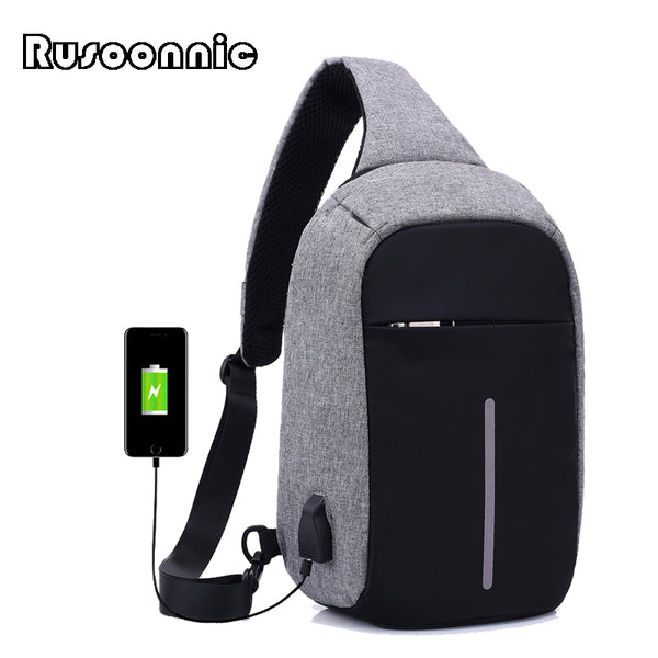 Rusoonnic Canvas Men Chest Pack Anti Theft Single Shoulder Strap Crossbody Bags for Women