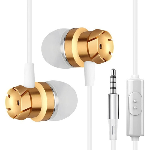 Jimate 3.5mm Wired Earphone Stereo Gold and White