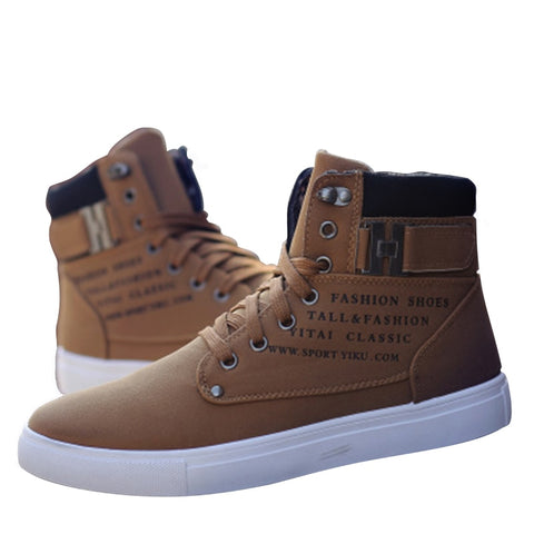 YOYLAP Martin Boots Casual High Top Canvas Men Shoes