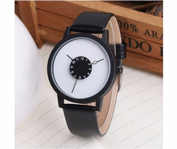 BGG Quartz Watches Unique Dial Design Minimalist Leather Strap Wristwatches