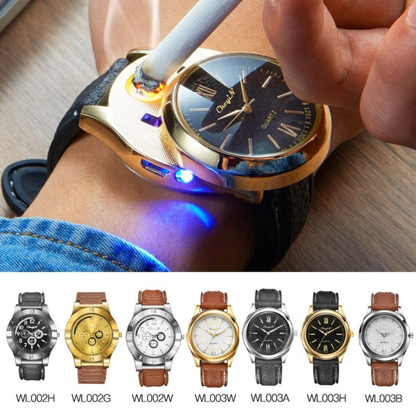 CkeyiN Men Watches with USB Charging Flameless and Windproof Cigarette Lighter (Rechargeable)