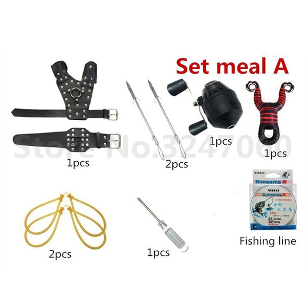 Fishing Slingshot with Arrow Darts And Reel Set A
