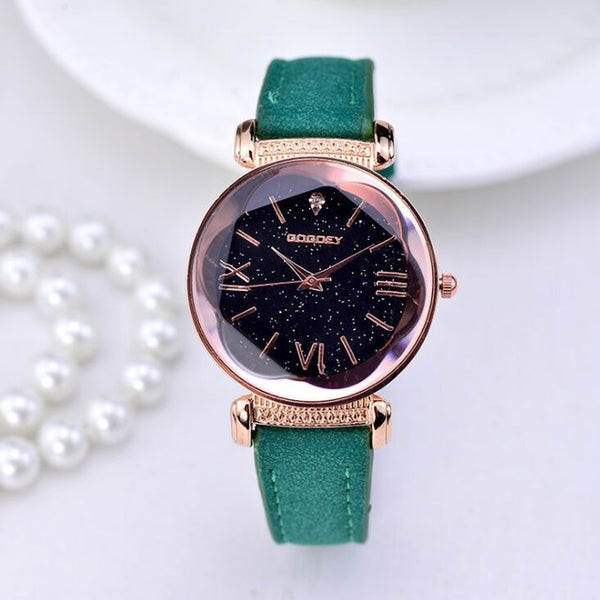 Gogoey Brand Rose Gold Leather Watches Women ladies casual dress quartz wristwatch go4417