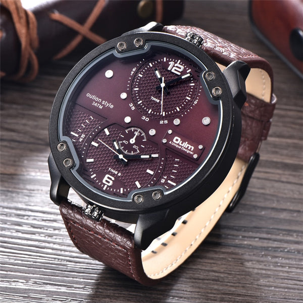 Oulm Two Time Zone Casual Leather Waterproof Watch Sport Quartz Watch