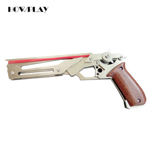 Howplay metal toy pistol guns rubber band weapon emitter ejection toy