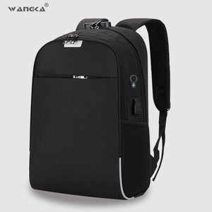 WANGKA USB Charging Laptop Backpack 15.6 inch Anti Theft Women Men Bags