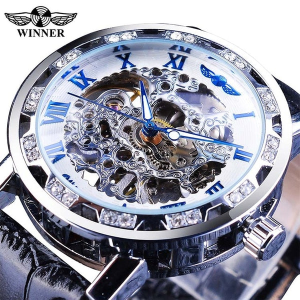 T-WINNER Black Golden Retro Luminous Hands Diamond Display Mens Mechanical Skeleton Wrist Watches