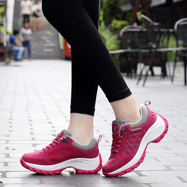 ISHOWTIENDA Comfortable Super Light Athletic Nubuck Leather Ladies Sports  Shoes just under 50 dollars