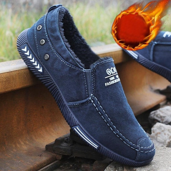 chaussure blue fur interior warm winter shoes for men