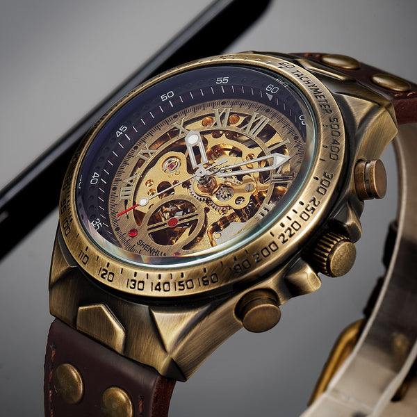 S075 Automatic Kinetic Skeleton Watches for Men bronze