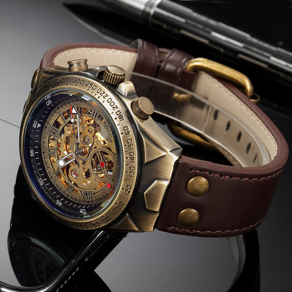 S075 Automatic Kinetic Skeleton Watches for Men leather straps