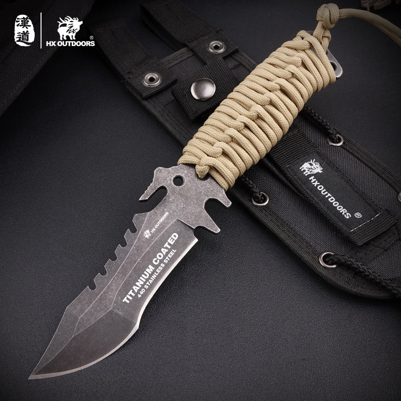 titanium coated fixed blade knife with hand rope