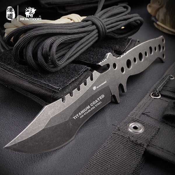 black and brown rope handle high hardness fixed blade knife
