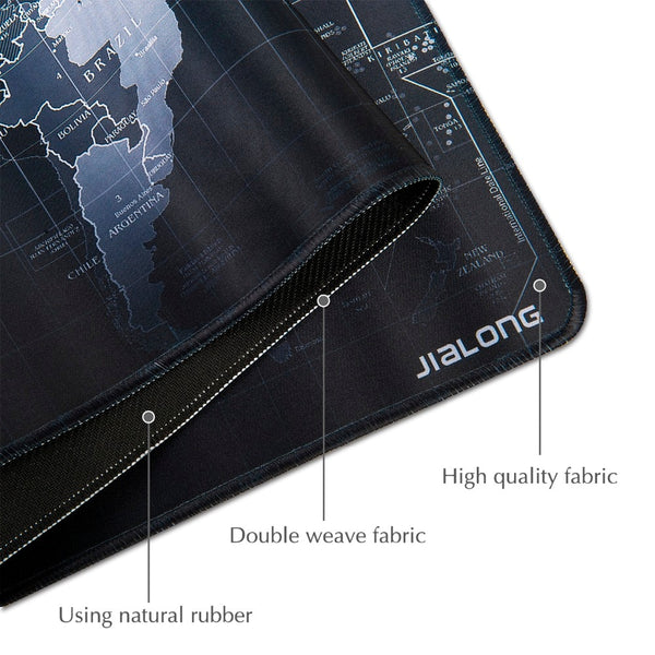 JIALONG Black World Map Mouse Pad Non-slip Rubber Gaming Mouse Pad