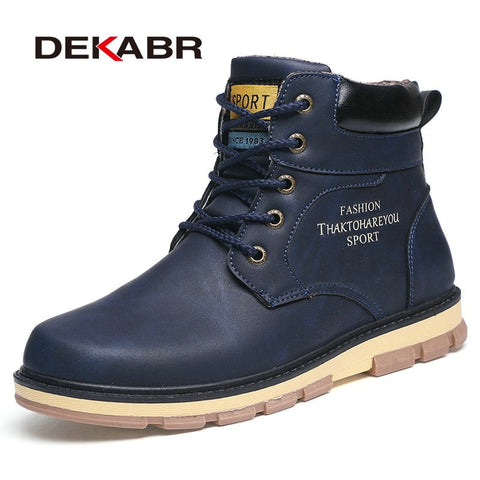 DEKABR  Winter Boots Men pu Leather Wear Resisting Casual Men's Boots