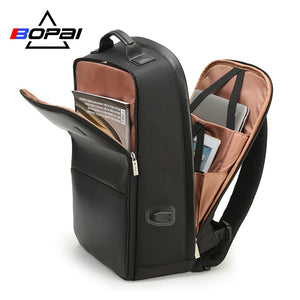 BOPAI  Men Leather Backpack Bags Anti Theft  laptop backpack USB Charge Backpack