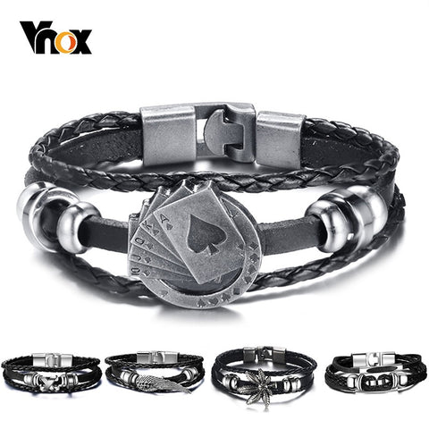 Vnox Lucky Vintage Men's Leather Bracelet