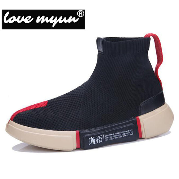 Affordable Cloth Slip On Shoes for Ladies and Gentlemen black and red stripe variant