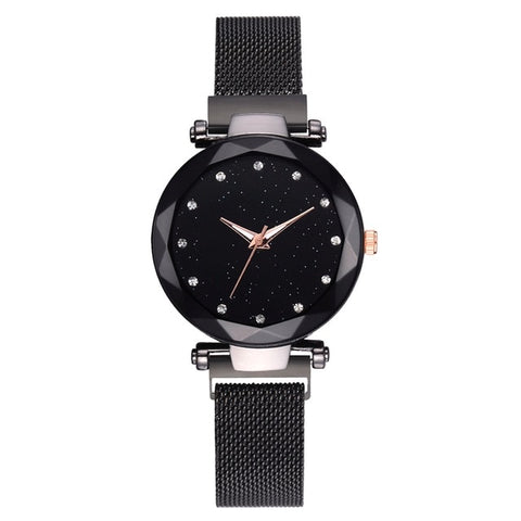 Hannah Martin Ladies Magnetic Starry Sky Clock Fashion Diamond Quartz Wristwatches