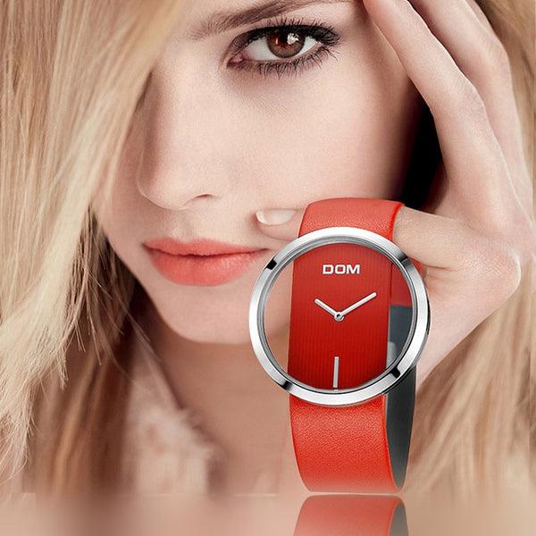DOM luxury quartz genuine leather strap Ladies wrist watch