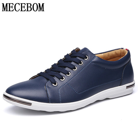 MECEBOM Men's Leather Shoes Lace-up moccasins