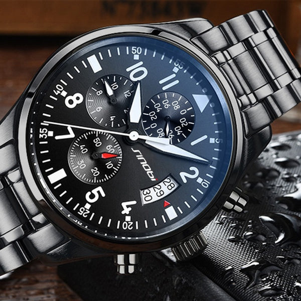 SINOBI Stainless Steel Waterproof Pilot Watches